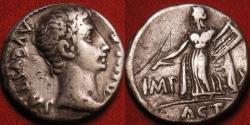 Ancient Coins - AUGUSTUS AR silver denarius. Actian Apollo standing, holding lyre.