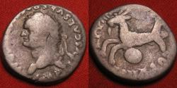 Ancient Coins - TITUS AR silver denarius. Capricorn flying left, globe below. Scarce variant with left facing bust
