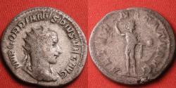 Ancient Coins - GORDIAN III AR silver antoninianus. AETERNITATI AUG, Sol standing, raising hand & holding globe.