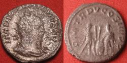 Ancient Coins - VALERIAN I AR silver antoninianus. Antioch mint, Valerian & Gallienus standing, holding spears & shields, 'Caius & Lucius' reverse.