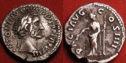 Ancient Coins - ANTONINUS PIUS AR silver denarius. 160-161 AD. PACI AVG COS IIII, Pax standing, holding branch & scepter. Nice portrait.