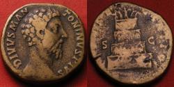 Ancient Coins - DIVUS MARCUS AURELIUS AE sestertius. Struck by Commodus, 180 AD. CONSECRATIO, garlanded funeral pyre.