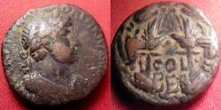 Ancient Coins - HADRIAN AE 24mm as. BERYTUS, PHOENICIA. Two legionary eagles within wreath. Very scarce