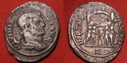 Ancient Coins - MAXIMIANUS AR silver argenteus. VIRTVS MILITVM, Rome mint. Four Tetrarchs sacrificing before city gate