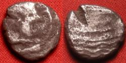 Ancient Coins - ARADOS, PHOENICIA, AR silver tetrobol (1/3rd stater). 450-300 BC. Head of Melqart right. Reverse - Galley right, Phoenician inscription