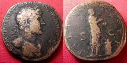 Ancient Coins - HADRIAN AE sestertius. PIETAS standing, sacrificing over altar.