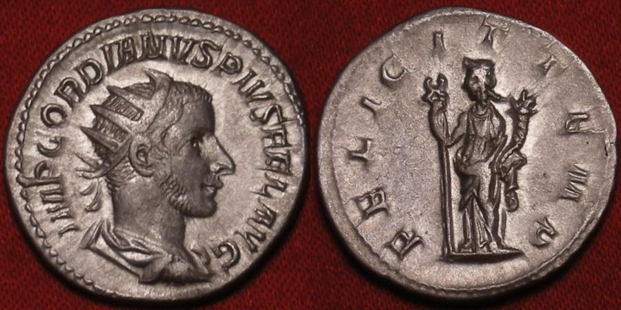 Ancient Coins - GORDIAN III AR silver antoninianus. FELICIT TEMP, Felicitas standing, holding caduceus & cornucopia