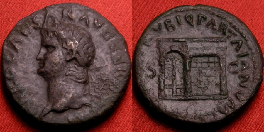 Ancient Coins - NERO AE as. Temple of Janus with closed doors. Left facing portrait