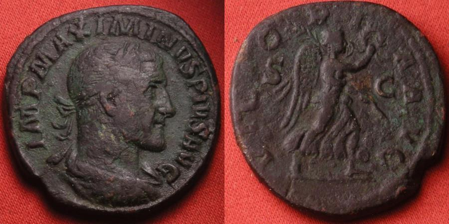 Ancient Coins - MAXIMINUS I THRAX AE sestertius. Victory advancing right, holding wreath & palm.