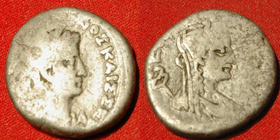 Ancient Coins - OTHO AR billon tetradrachm. Alexandria, Egypt, 69 AD. AVTOK MAPK OQWNOS KAIS SEB, laureate head right, LA before. Reverse - EIPHNH, draped and veiled bust of Eirene right, caduceus