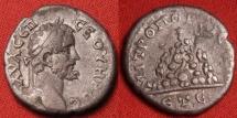 Ancient Coins - SEPTIMIUS SEVERUS AR silver drachm. Caesarea, Cappadocia. Mt Argaeus.