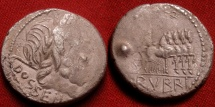 Ancient Coins - L RUBRIUS DOSSENUS AR silver denarius. Bust of Jupiter right, Quadrigal carpentum.
