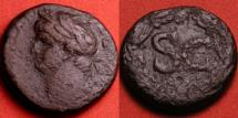 Ancient Coins - DOMITIAN AE 26mm. Antioch. SC in wreath, left facing protrait.