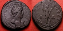 Ancient Coins - HADRIAN AE dupondius. Virtus standing, holding spear & parazonium. Heavy 16.1 grams!