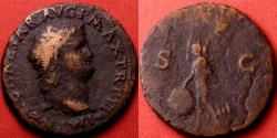 Ancient Coins - NERO AE as. Lugdunum mint. Victoria flying left, holding shield inscribed SPQR