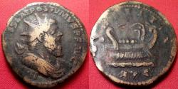 Ancient Coins - POSTUMUS AE orichalcum double sestertius. LAETITIA AVG, galley sailing right