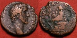 Ancient Coins - ANTONINUS PIUS AE as. ROMAN BRITAIN, Britannia seated on rock. Local issue, struck in Britannia. Rare