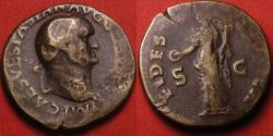 Ancient Coins - VESPASIAN AE orichalcum 'laureate' dupondius. Lugdunum, 77-78 AD. FIDES PVBLICA.