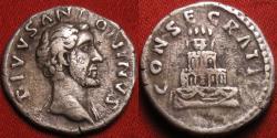 Ancient Coins - ANTONINUS PIUS AR silver denarius. CONSECRATIO, four tiered funeral pyre.