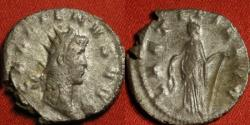 Ancient Coins - GALLIENUS AR silver antoninianus. LAETITIA standing, holding wreath & anchor.