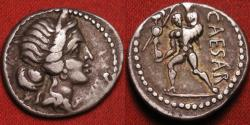 Ancient Coins - JULIUS CAESAR AR silver denarius. Aeneas carrying Palladium and his father Anchises. North Africa, 47-46 BC.