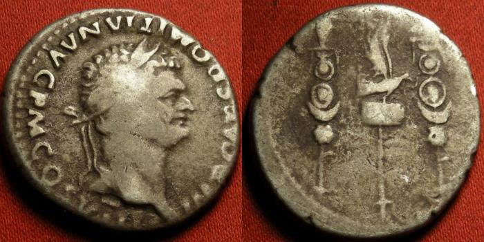 Ancient Coins - DOMITIAN AR silver cistophorus (cistophoric tetradrachm). Legionary Eagle and standards. 82 AD.
