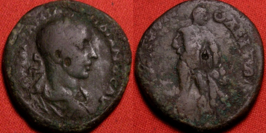 Ancient Coins - GORDIAN III AE 27mm pentassarion. Hadrianopolis, Thrace. Herakles (Hercules) standing right, holding lion's skin & club set on rock