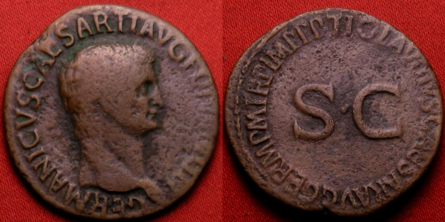 Ancient Coins - GERMANICUS AE as. Struck under Claudius. legend around SC.