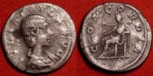 Ancient Coins - JULIA PAULA AR silver denarius. CONCORDIA seated, holding patera.