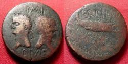 Ancient Coins - AUGUSTUS & AGRIPPA AE dupondius, Nemausus Mint. Crocodile, chained to palm branch.