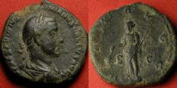 Ancient Coins - TREBONIANUS GALLUS AE sestertius. PAX AVGG, Pax standing, holding branch & scepter. Long obverse legend.