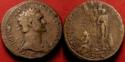Ancient Coins - DOMITIAN AE sestertius. GERMANIA CAPTA, two captives under trophy of arms.