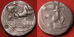 Ancient Coins - OCTAVIAN (Augustus) AR silver denarius. 30 BC. Octavian riding quadriga, reverse with Victory on prow. Actium Victory! Scarce.