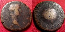 Ancient Coins - DIVUS AUGUSTUS AE as. Restoration issue by Nerva, 96-98 AD. Globe & rudder. Scarce