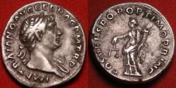 Ancient Coins - TRAJAN AR silver denarius. Aequitas standing, holding scales. Lovely