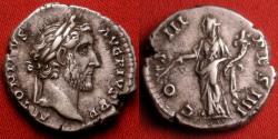 Ancient Coins - ANTONINUS PIUS AR silver denarius. COS III DES IIII, Pax standing.