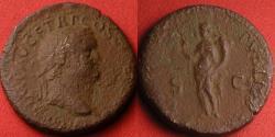 Ancient Coins - TITUS AE dupondius. Lugdunum mint, 77-78 AD. FELICITAS PVBLICA.