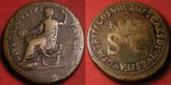 Ancient Coins - DIVUS AUGUSTUS AE sestertius. Restoration by Titus, 80-81 AD. Statue of Divus Augustus. Rare