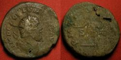 Ancient Coins - POSTUMUS AE orichalcum sestertius. Dated issue, Emperor standing. Laureate sestertius 're-valued' into a radiate double sestertius! Interesting altered coin.
