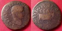 Ancient Coins - TIBERIUS AE as. Caesaraugusta, Spain. Bull standing, pediment above its head. Duoviri Lepidus & Gemellus