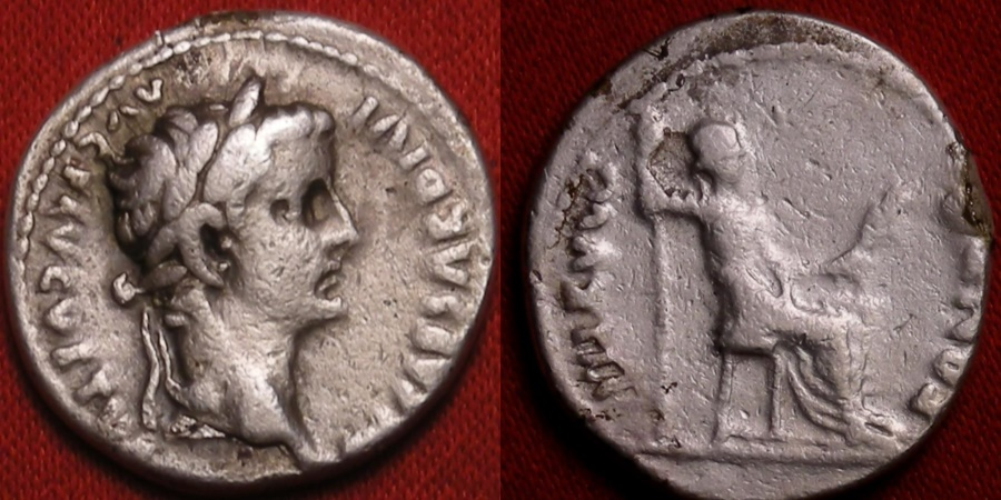 Ancient Coins - TIBERIUS AR silver denarius. PONTIF MAXIM, Livia, as Pax, seated right, plain legs to chair