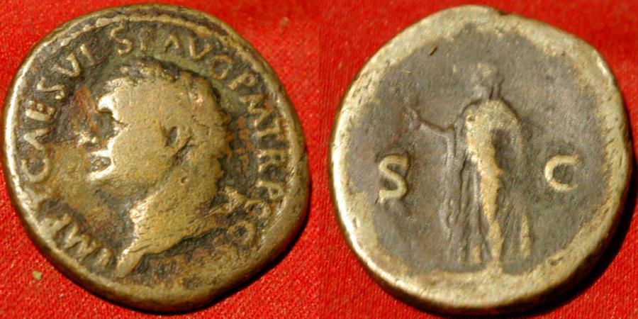 Ancient Coins - TITUS AUGUSTUS AE as. Rome, 80-81 AD. Spes advancing left. Left facing portrait