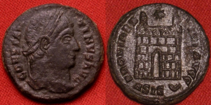 Ancient Coins - CONSTANTINE I THE GREAT 18mm AE3 campgate. Siscia mint.