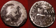 Ancient Coins - AUGUSTUS AR silver denarius. Moneyer L Aquillius Florus, 19 BC. Radiate head of Sol, modius in quadriga