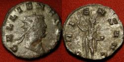Ancient Coins - GALLIENUS AR antoninianus. Antion mint. ORIENS AUG, Sol standing, holding globe and raising hand.