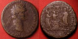 Ancient Coins - DOMITIAN AE as. LUD SAEC FEC, Secular games type, Domitian sacrificing over altar, flute player & harpist attending, temple of Jupiter behind. Rare.