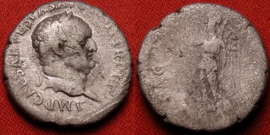 Ancient Coins - VESPASIAN AR silver denarius. PEACE OF AUGUSTUS, Ephesus, 70 AD. Victoria walking left. Commemorating the Judea Capta/Flavian peace.