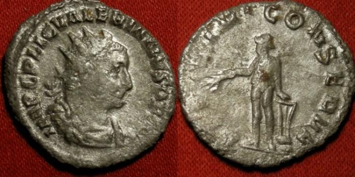 Ancient Coins - VALERIAN I silver antoninianus. APOLLINI CONSERVA, Apollo standing, arm resting on lyre set on rock.