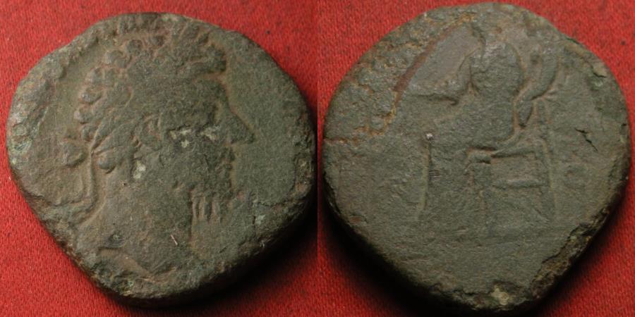 Ancient Coins - MARCUS AURELIUS AE sestertius. Aequitas seated, holding scales & cornucopia.