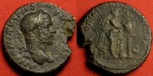 Ancient Coins - CARACALLA AE as. Rome, 211 AD. VICTORIAE BRITANNICAE, Victory inscribing shield set on palm